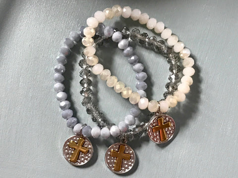Crystal Bracelets with Cross Dangles