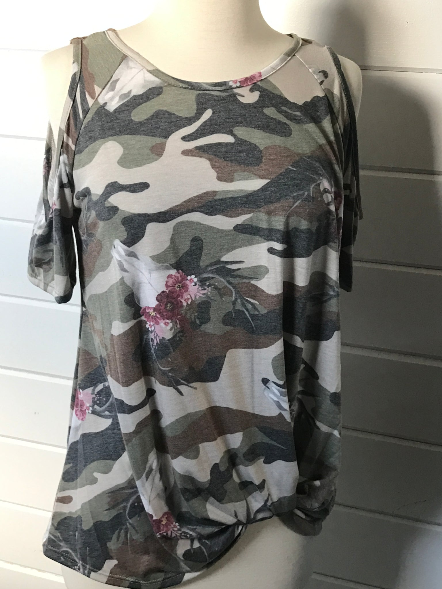 Cold Shoulder Tie Front Camo T Shirt