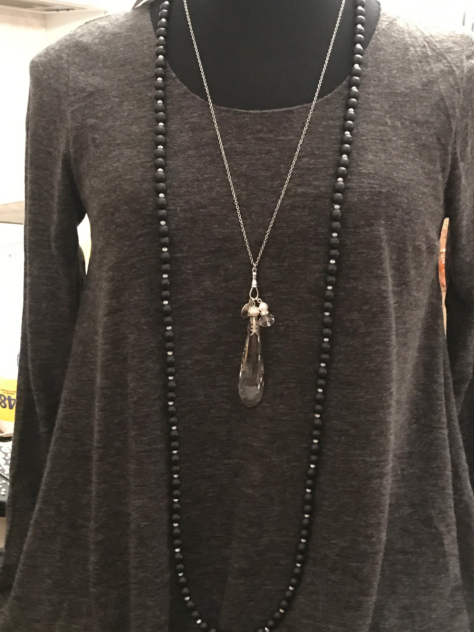 "30"" Black and Crystal Bead Necklace"