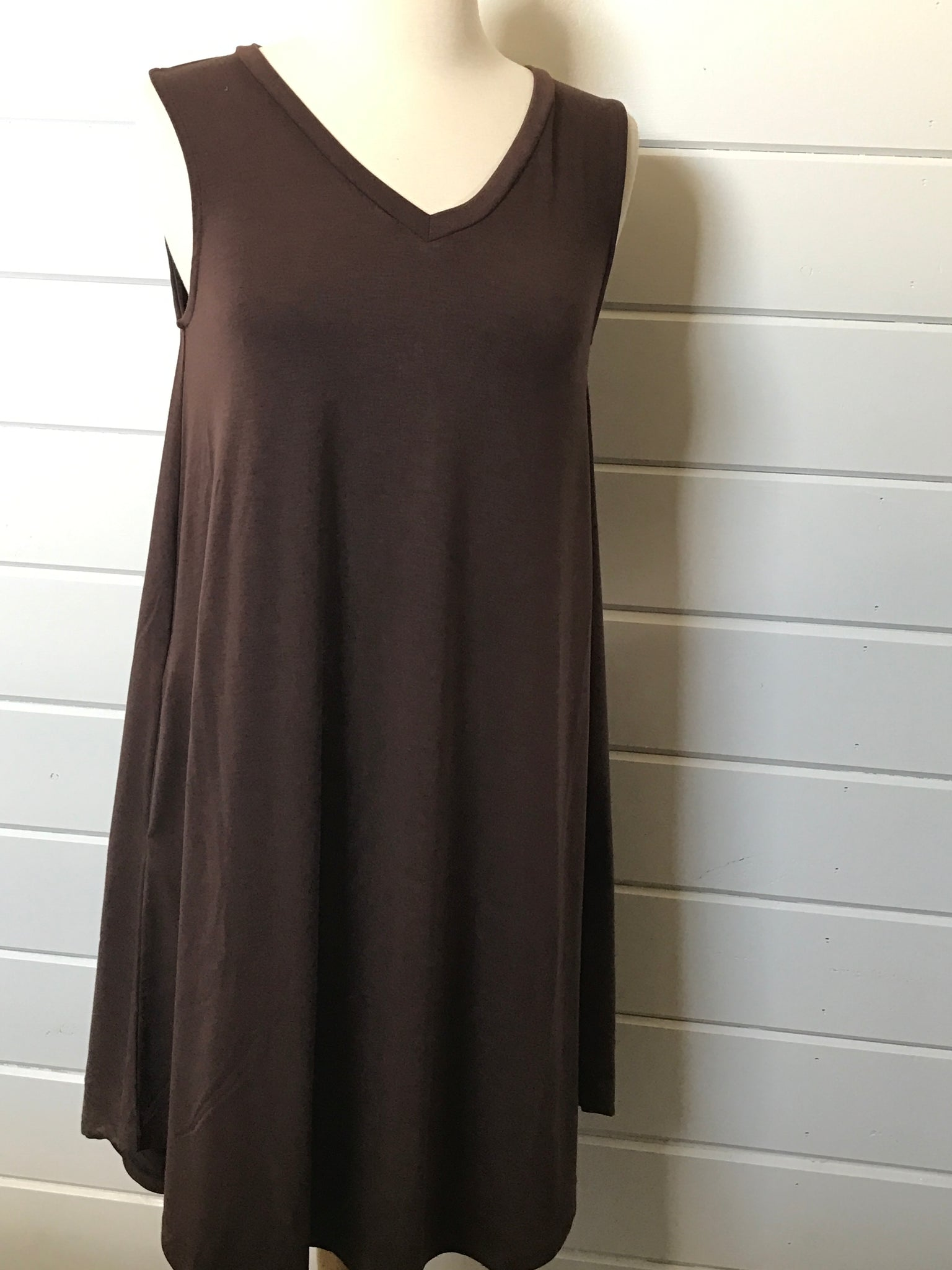 Sleeveless V-Neck Dress in Brown