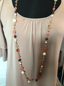 Pink and Brown Crystal Necklace