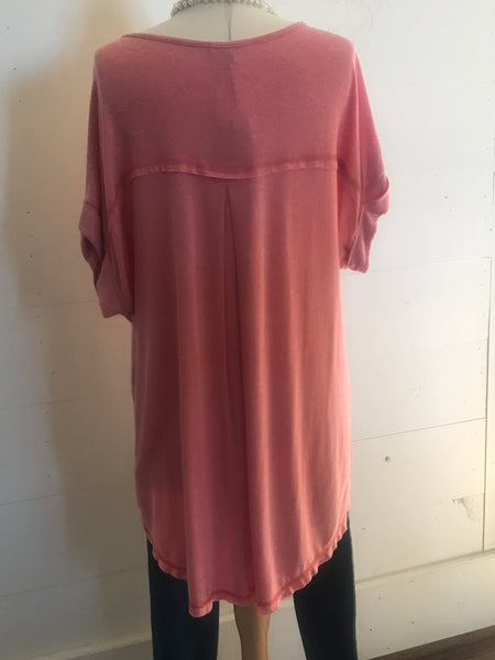 Easel Coral Oversized T Shirt