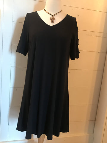 Little Black Dress With Open Detail on Sleeve
