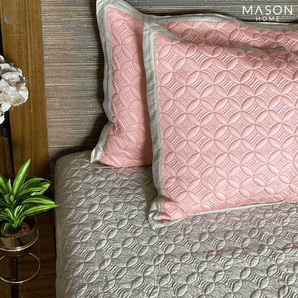 COTTON BEDSPREAD - PINK & BEIGE (REVERSIBLE)