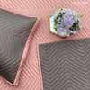 COTTON BEDSPREAD - FEATHER PINK / GREY (REVERSIBLE)