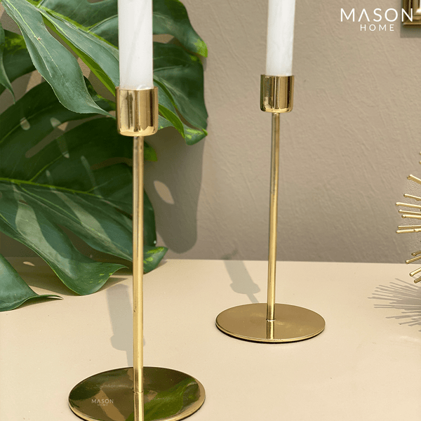 SAVOYE BRASS CANDLE STANDS - SET OF 2