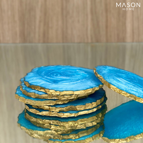 LAVA RESIN COASTERS - AQUA BLUE (Set of 6) - Mason Home by Amarsons - Lifestyle & Decor