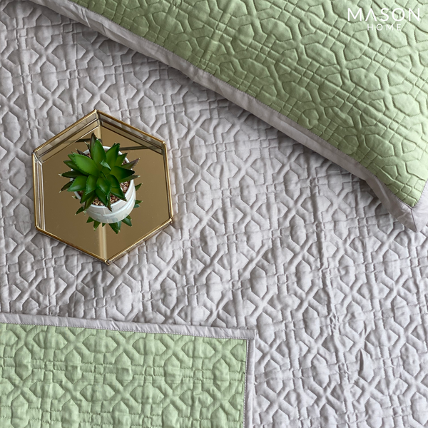 COTTON BEDSPREAD - LIME GREEN & BEIGE (REVERSIBLE)