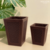 CHEQUERED DUSTBIN - BROWN