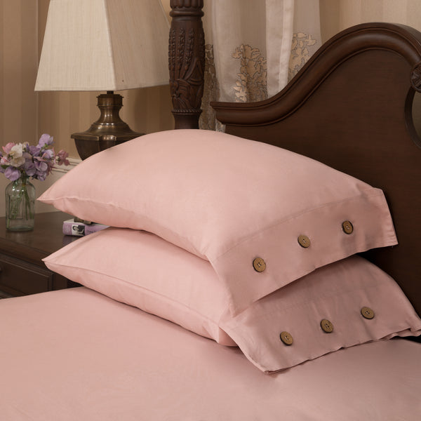 BUTTONED BEDDING SET - CORAL PEACH