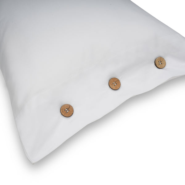 BUTTONED BEDDING SET - WHITE