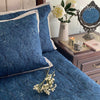 COTTON BEDSPREAD - BOTANICAL INDIGO (REVERSIBLE)