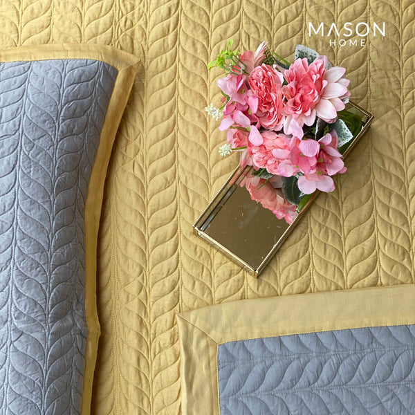 COTTON BEDSPREAD - BUTTER CUP YELLOW AND SANDSTONE GREY (REVERSIBLE)