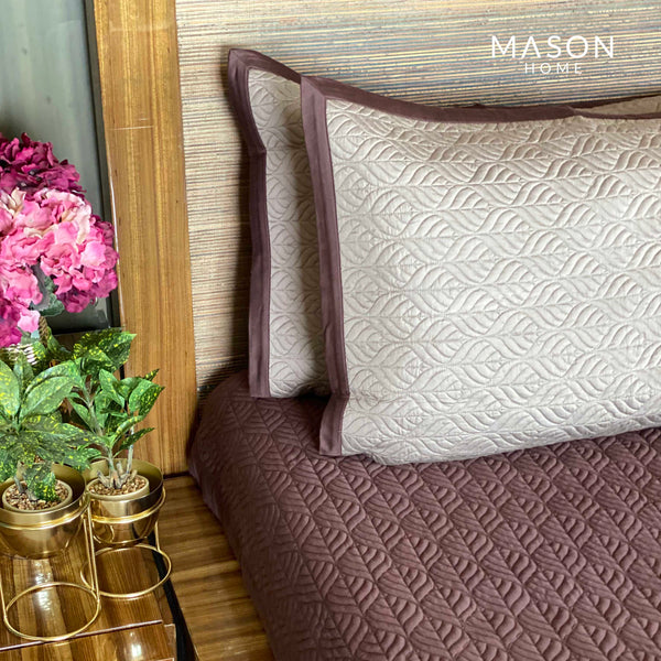 COTTON BEDSPREAD - COFFEE AND TAUPE (REVERSIBLE)