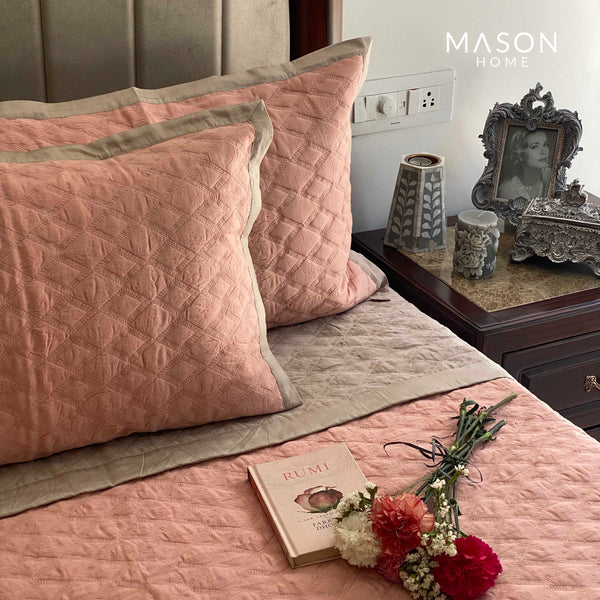 COTTON BEDSPREAD - CORAL AND BEIGE (REVERSIBLE)