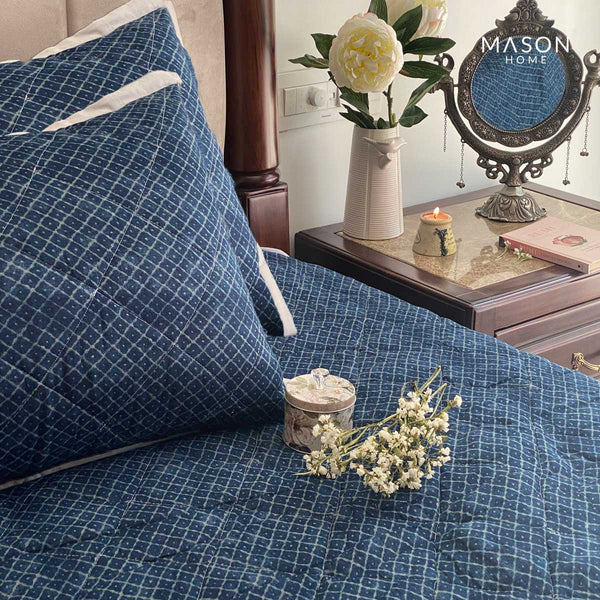 COTTON BEDSPREAD - DAIMOND INDIGO (REVERSIBLE)