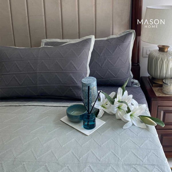 COTTON BEDSPREAD - DARK GREY AND SAGE GREEN (REVERSIBLE)