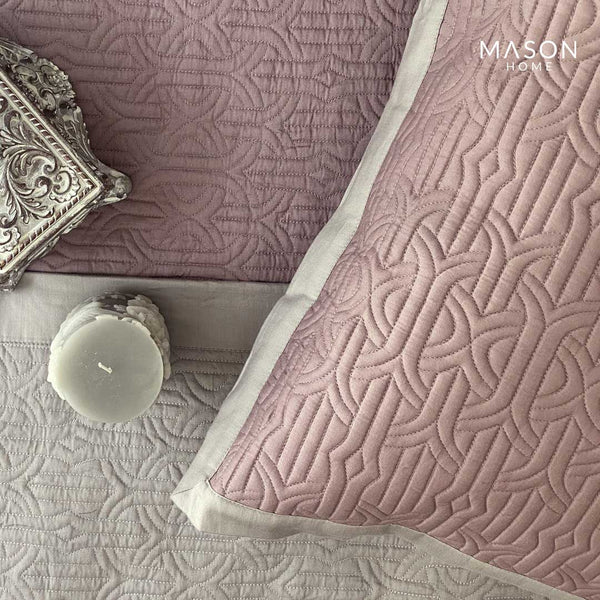 COTTON BEDSPREAD - MORDERNE OLD ROSE AND SANDSTONE GREY (REVERSIBLE)