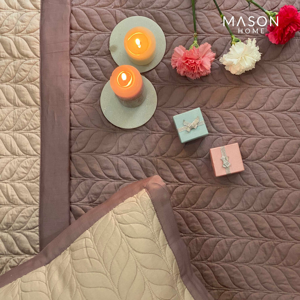 COTTON BEDSPREAD - OLD ROSE AND BUFF (REVERSIBLE)