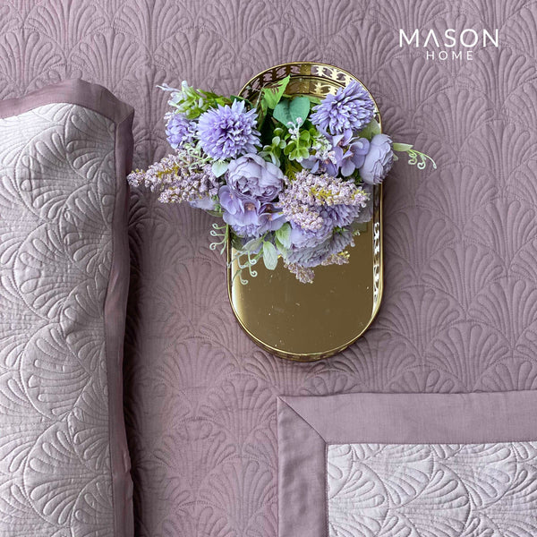 COTTON BEDSPREAD - OLD ROSE AND LILAC (REVERSIBLE)