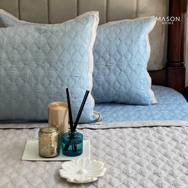 COTTON BEDSPREAD - SMOKE BLUE AND GREY (REVERSIBLE)