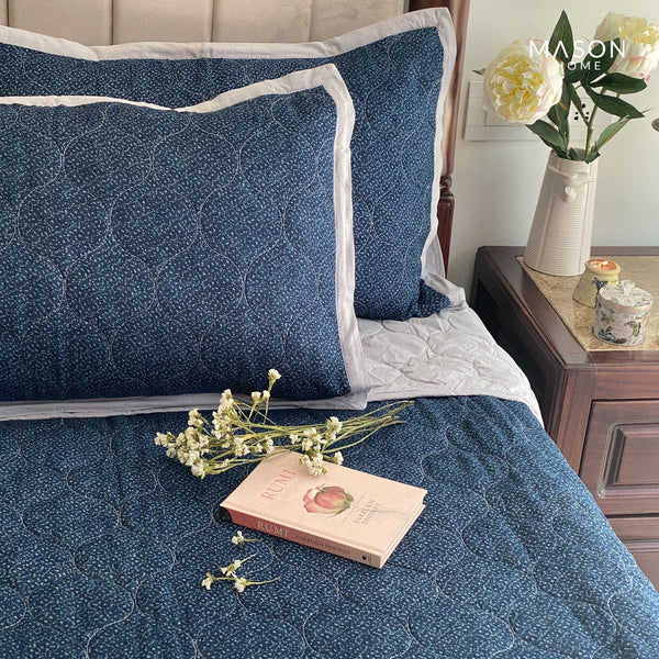 COTTON BEDSPREAD - SPRINKLE INDIGO (REVERSIBLE)