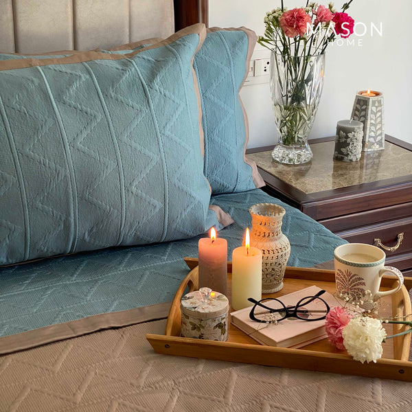 COTTON BEDSPREAD - TEAL AND TAUPE (REVERSIBLE)