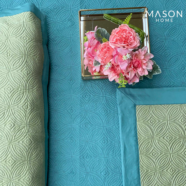 COTTON BEDSPREAD - TURQUOISE AND LIMEGREEN (REVERSIBLE)