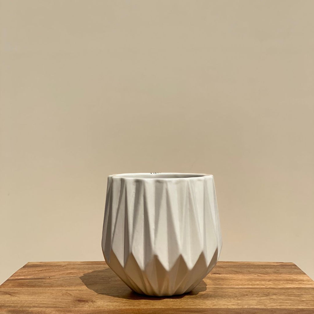RIDGED CERAMIC POT IN WHITE - SMALL