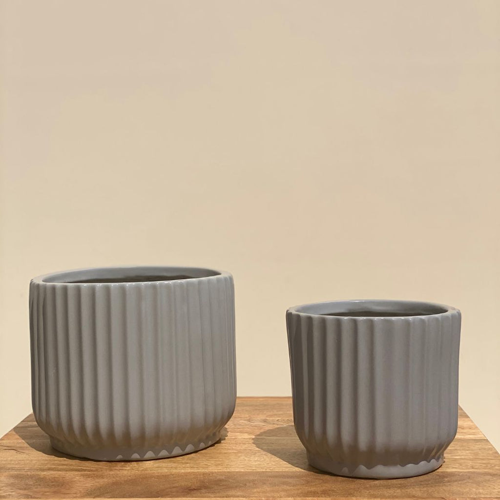 RIBBED CERAMIC POT PLANTER - MEDIUM