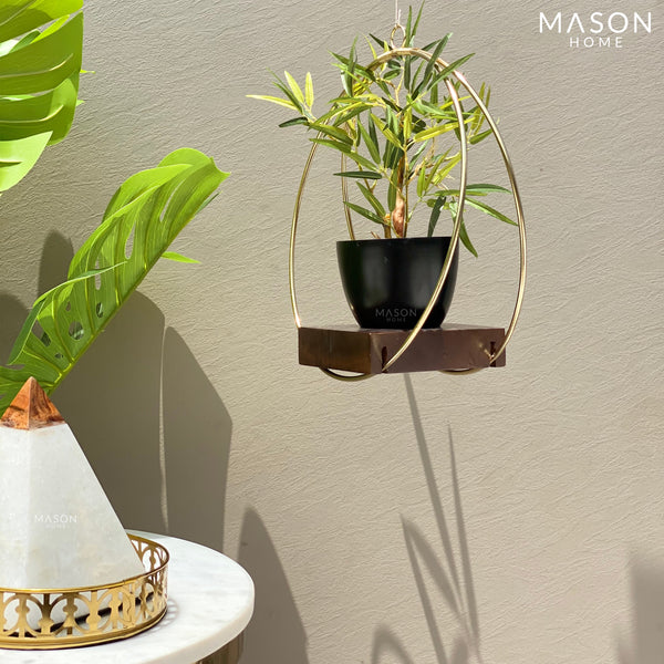 CIRCULAR HANGING PLANTER - BLACK/GOLD - Mason Home by Amarsons - Lifestyle & Decor
