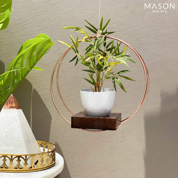 CIRCULAR HANGING PLANTER - WHITE/ROSE GOLD - Mason Home by Amarsons - Lifestyle & Decor