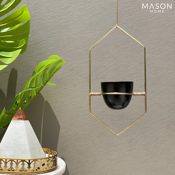 HEXAGONAL HANGING PLANTER - BLACK/GOLD - Mason Home by Amarsons - Lifestyle & Decor