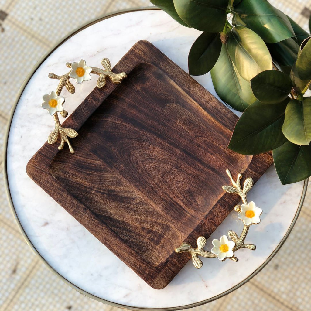 DAISY WOODEN TRAY BIG - SQUARE