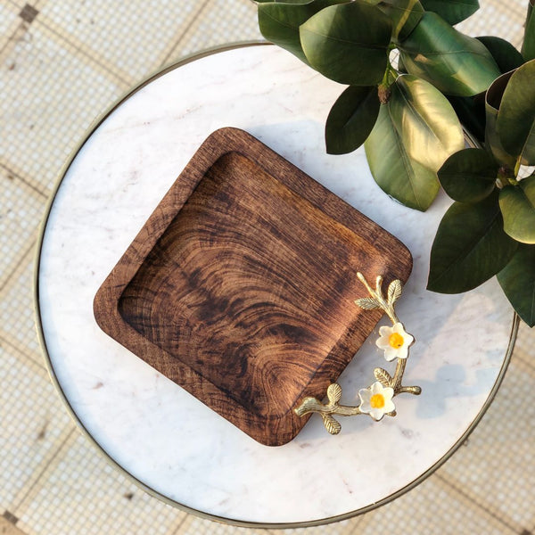 DAISY WOODEN TRAY - SQUARE