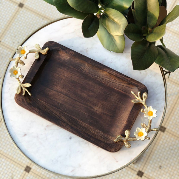 DAISY WOODEN TRAY - RECTANGLE