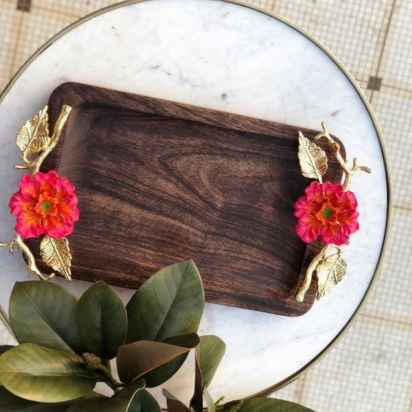 HIBISCUS WOODEN TRAY - RECTANGLE