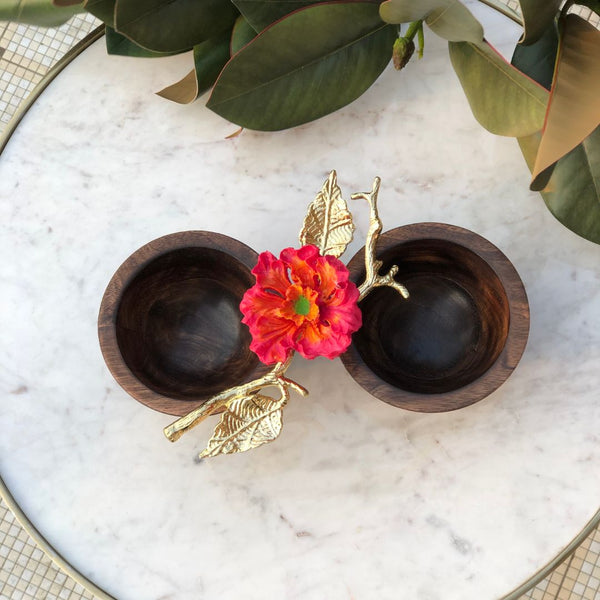 HIBISCUS WOODEN TWIN BOWL