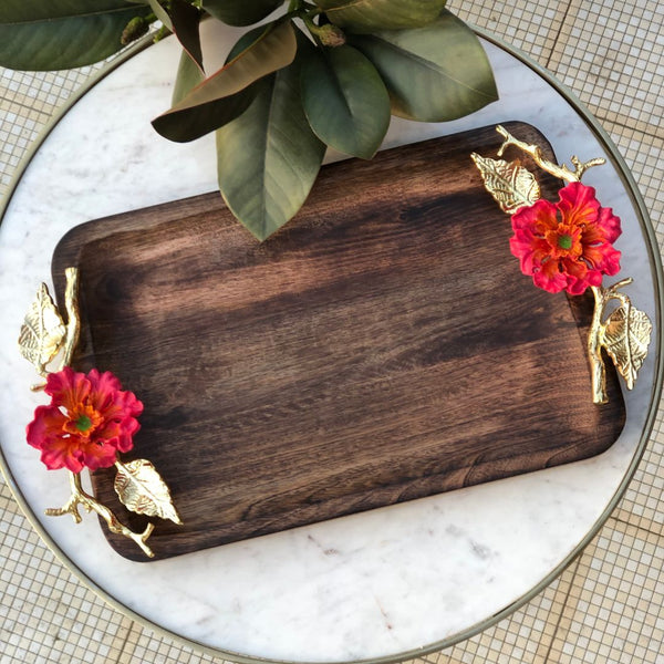 HIBISCUS WOODEN TRAY - RECTANGLE - Mason Home by Amarsons - Lifestyle & Decor