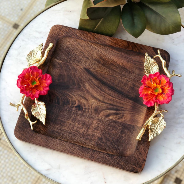 HIBISCUS WOODEN TRAY BIG - SQUARE