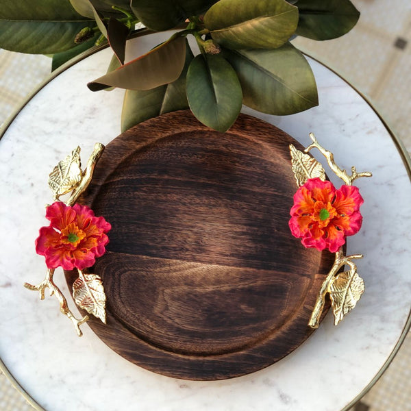 HIBISCUS WOODEN TRAY - ROUND
