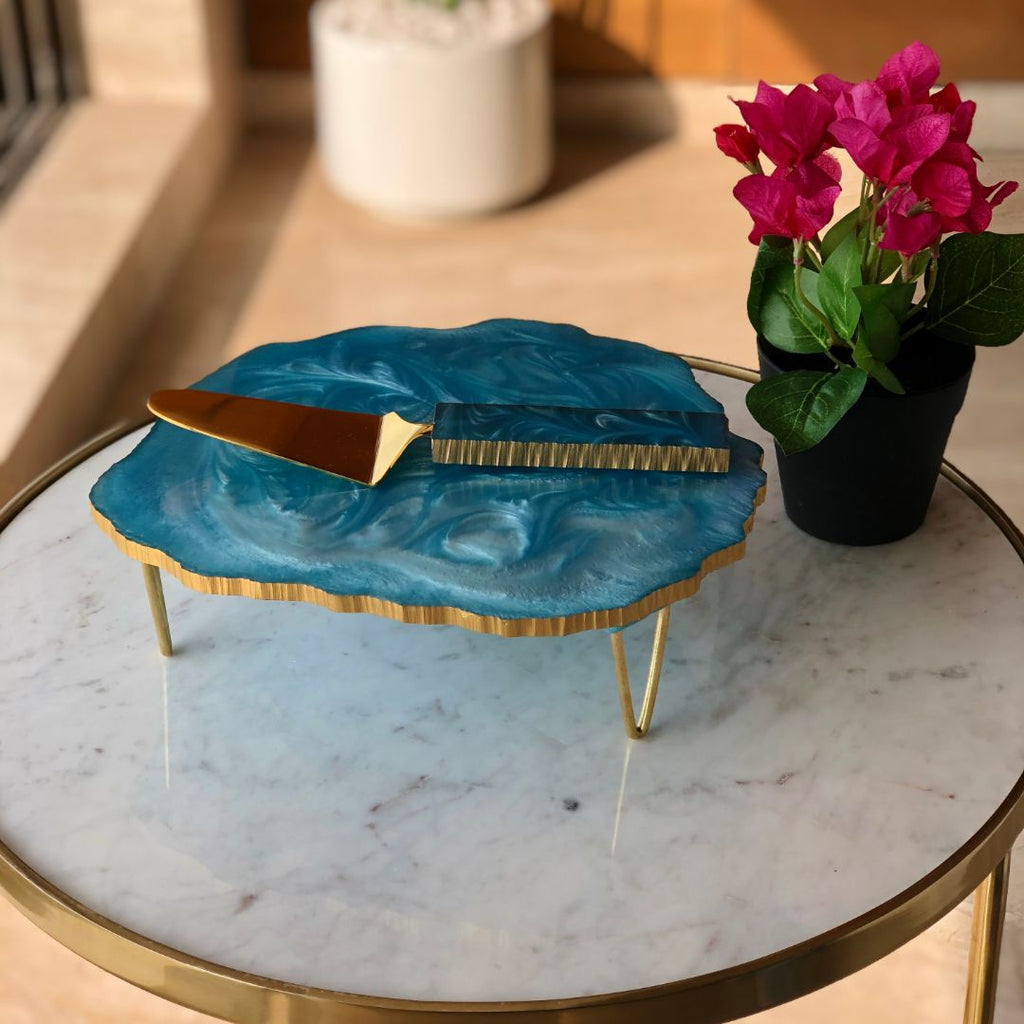 LAVA RESIN CAKE STAND SET - AQUA BLUE - Mason Home by Amarsons - Lifestyle & Decor