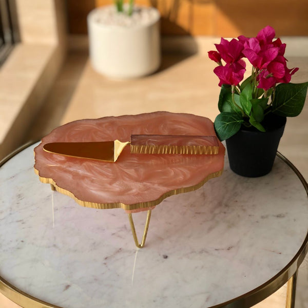 LAVA RESIN CAKE STAND SET - FEATHER PINK - Mason Home by Amarsons - Lifestyle & Decor