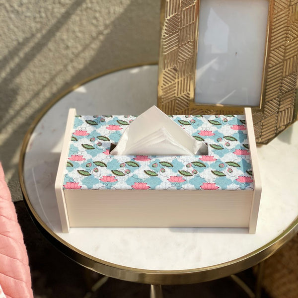 TEAL LOTUS TISSUE BOX