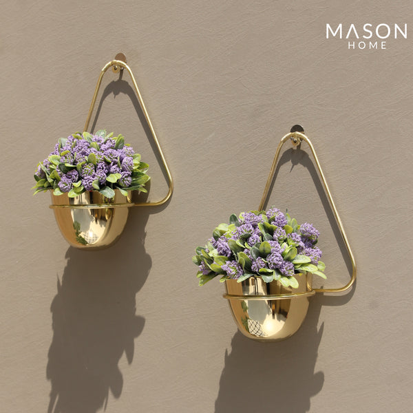 TRIANGULAR HANGING PLANTER GOLD - SET OF 2