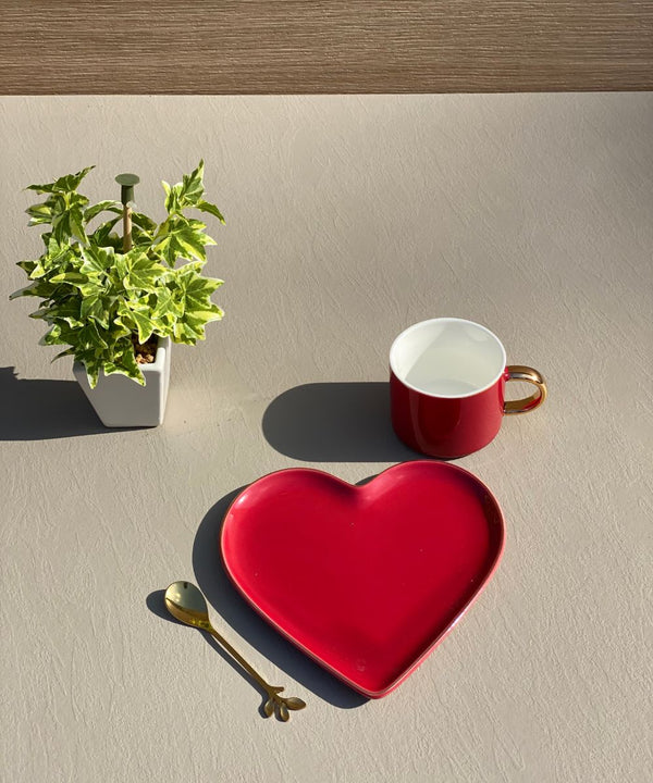 HEART CUP & SAUCER - CHERRY RED