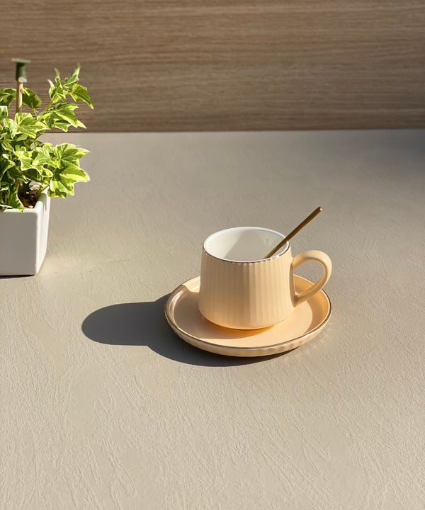 RIBBED TEA CUP - BRIGHT PEACH