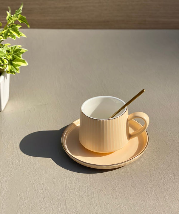 RIBBED TEA CUP - BRIGHT PEACH - Mason Home by Amarsons - Lifestyle & Decor