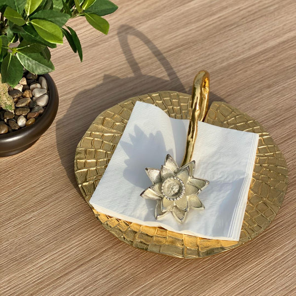 LOTUS NAPKIN HOLDER - GOLD