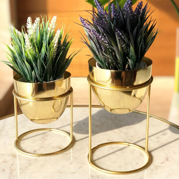 OLVERA DESK PLANTER SET - GOLD
